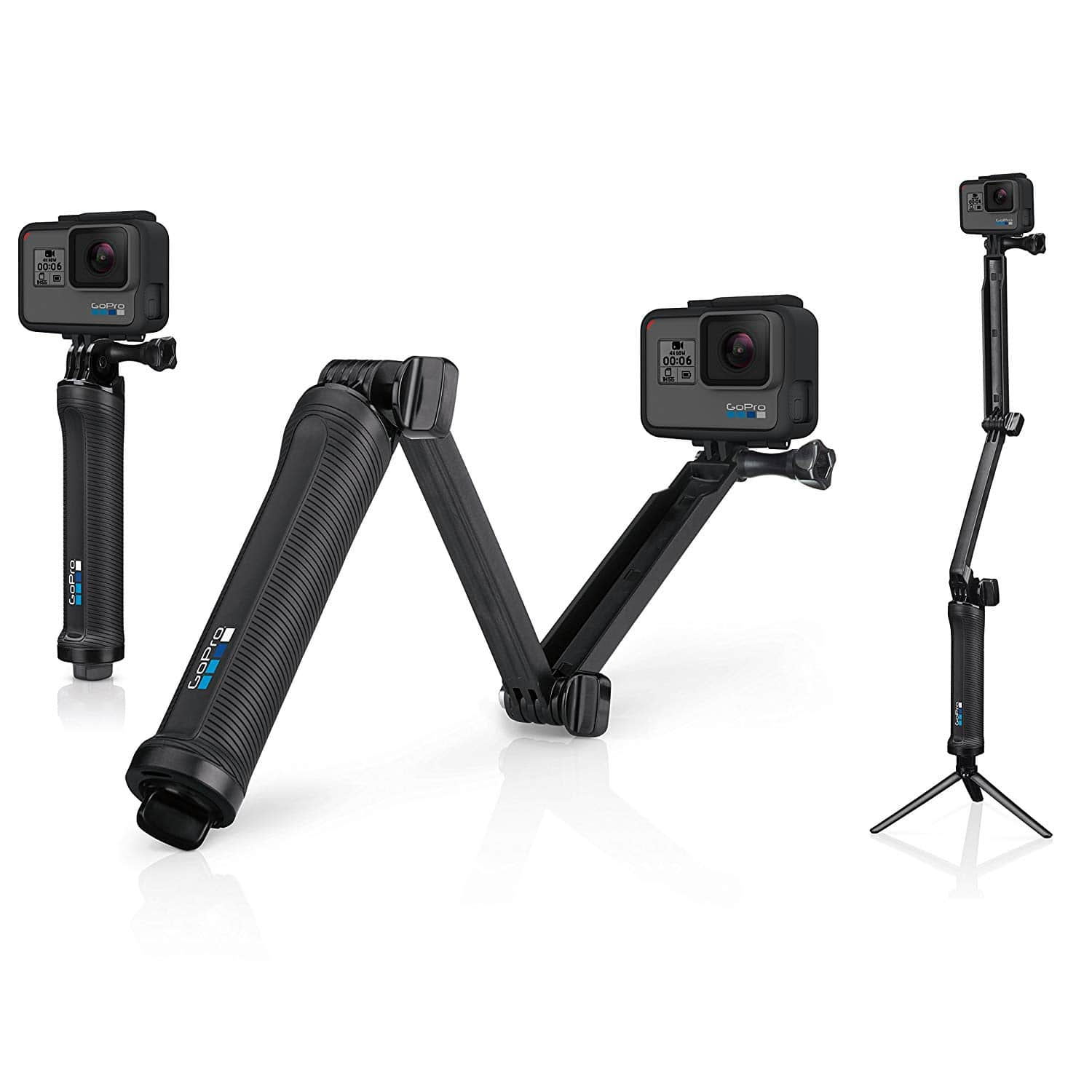 camera grip, folding arm, and tripod for gopro